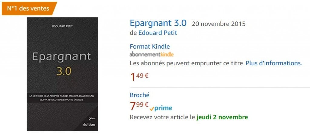 Epaargnant 3.0, le livre sur la gestion passive N°1 des ventes sur Amazon