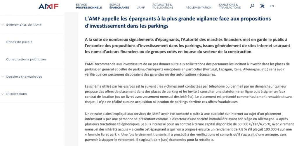 Arnaque placement Parking (AMF)