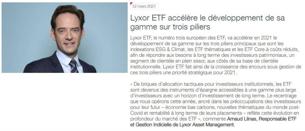Communiqué de presse Lyxor ETF