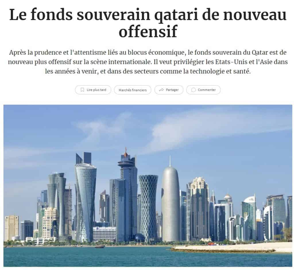 Fonds souverain Qatari - Les Echos